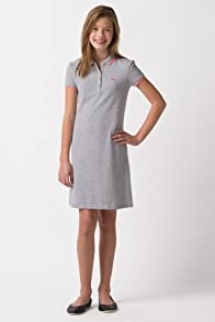 Girl's Short Sleeve Pique Polo Dress with Tipping and Neon Croc