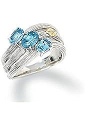 Swiss blue topaz gemstone ring sterling silver gold 18k size , 9