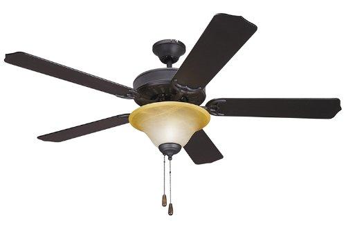 Yosemite Home Decor 5Bd52Vb Lk106 Builder 52-Inch Ceiling Fan With Light Kit And Black/Walnut Blades, Venetian Bronze front-562352