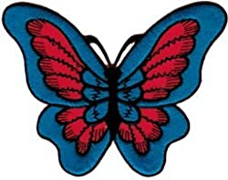 Red & Blue Butterfly Embroidered Iron On or Sew On Patch