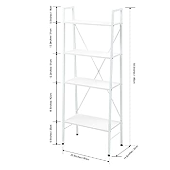 "LANGRIA 4-Shelf Ladder Bookcase Freestanding Leaning Bookshelf Storage Rack Organazation, Steel Frame, Home Office Use, Adjustable Feet, 23.6"" x 11.8""x 58.3"", White …"
