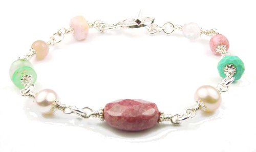 Damali Sterling Silver Self-Esteem Bracelet w/ Rhodonite, Rose Quartz, Turquoise, Opal, and Moonstone in Sterling Silve - Medium 7.5 In