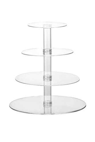 Acrylic Cupcake Stand - 4-Tier Party Dessert Tower For Cupcakes, Gourmet Cakes, Pastries, and Bread, Clear by Juvale (Glass Pastry Display compare prices)