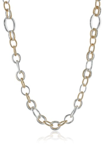 """Napier """"Glitter Links"""" Two-Tone Open Link Strand Necklace, 40"""""""