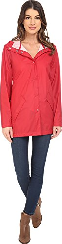 Cole Haan Women's Water Repellent Hooded Parka Raincoat Fiery Red Outerwear MD (US 8-10) (Cole Haan Hooded compare prices)