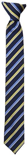 Dockers Big Boys' Stripe 2 Clip On Tie, Navy/Yellow, One Size