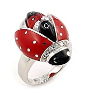 Red And Black Ladybug Millefiori Animal Sterling Silver 925 Ring With Cz