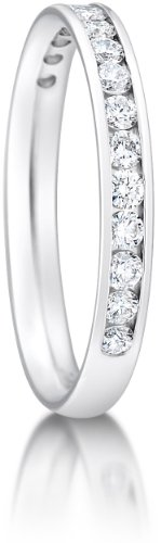 2.5mm Platinum Court Shaped, Medium Weight Diamond Set Wedding Ring - Size J