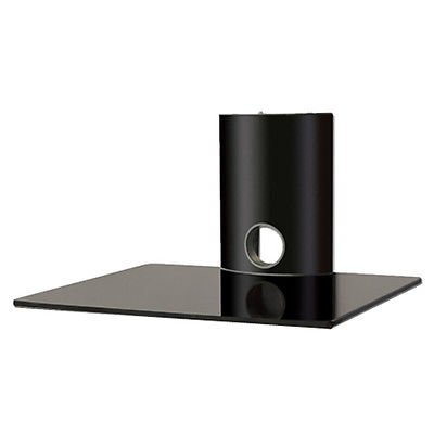 2xhome - High Gloss Black Single Shelf Wall mounted AV Component Shelving System
