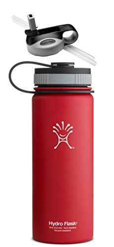 Hydro Flask Insulated Stainless Steel Water Bottle, Wide Mouth, 18-Ounce,18-Ounce,Lychee Red With Straw Lid front-485809