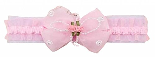 PinkXenia bowknot flower elastic chiffon pinklace newborn Soft headband
