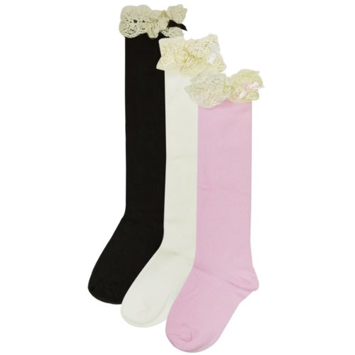 Wrapables Lace Ruffles and Bow Knee High Girl Socks (set of 3)
