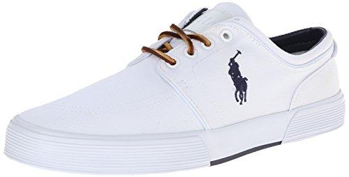 Polo Ralph Lauren Men's Faxon SK VLC Sneaker, Pure White, 10.5 D US