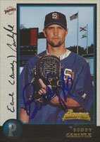 Buddy Carlyle, San Diego Padres, 1998 Bowman Rookie Card Autographed Card