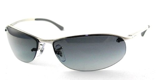 RAY BAN RB 3179 RB3179 003/11 SILVER METAL GRAY GRADIENT LENS SEMI-RIMLESS SUNGLASSES SHADES