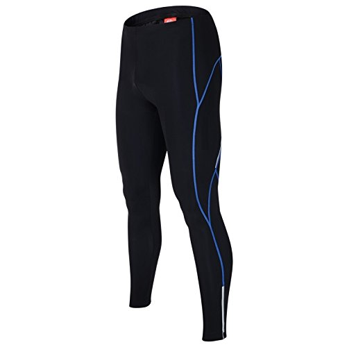 ALLY Cycling Tights pants Men's 3D Coolmax Paded Legging Bicyle Cycle Trousers Cycling Bottoms (Black/Blue, XXXL 38