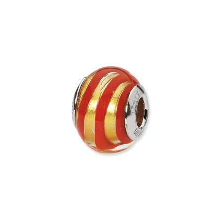 Gold and Red Striped Murano Glass Charm