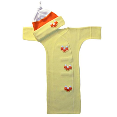 [Candy Corn Baby Bunting Gown and Hat Set (Newborn 0-3 Months to 12 Pounds)] (Baby Corn Bunting Costumes)