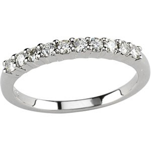 Polished 14k White-gold 1/5 CTTW Moissanite Wedding Band Ring Size 06
