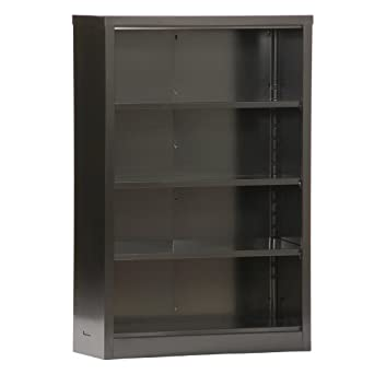 "Sandusky Lee BQ10351352-09 Black Steel Powder Coat Snapit Bookcase with 3 Adjustable Shelves, Fixed Bottom Shelf, 200 lb. Per Shelf Capacity, 52"" Height x 34-1/2"" Width x 13"" Depth"