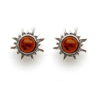 Baltic Honey Amber and Sterling Silver Very Small Flaming Sun Stud Earrings