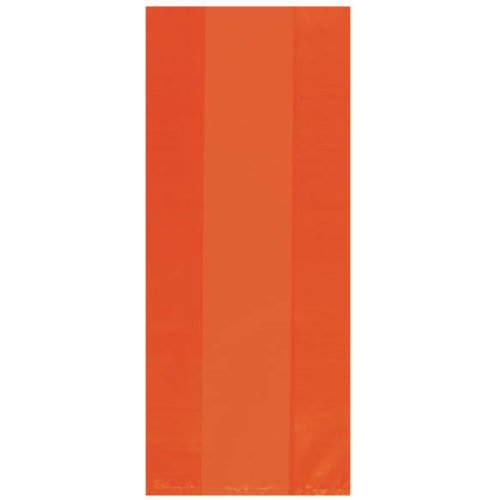 "Festive Large Cellophane Party Bags, 11-1/2 x 5 x 3-1/4"", Orange Peel - 1"