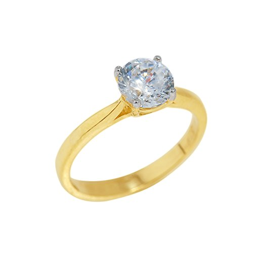 Fine 10K Yellow Gold 2.1Mm Band Four-Prong Cz Solitaire Engagement Ring (Size 7.5)