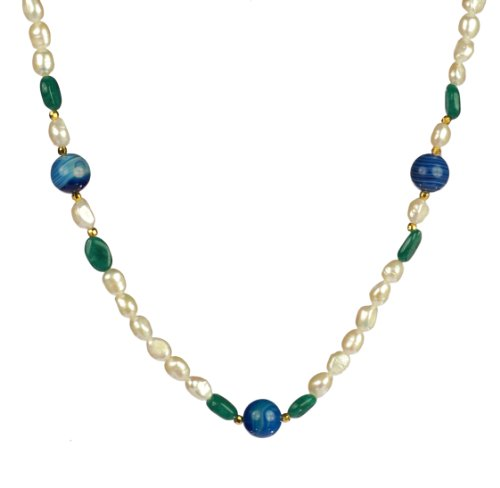 White Freshwater Cultured Baroque Pearl, Blue and Green Stones Vermeil Clasp Necklace, 30