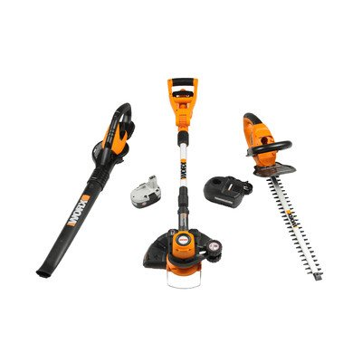 WORX WG901.1 18-Volt Cordless 3-Piece Outdoor Tool Combo Kit With Blower, String Trimmer & Hedge Trimmer