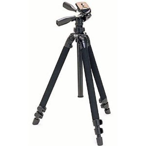 Slik Pro 400DX Tripod Legs - Black - with 3-Way Pan/Tilt Quick Release Head - Height 18.5 - 61 Inches, Maximum Load 9.9 lbs