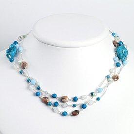 Sterling Silver Crackle/Sky Blue Crystal/Jasper/Lt Blue Pearl/Turquoise Ne - QH2678-52