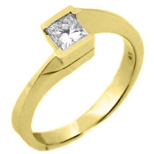 14K Yellow Gold .50 Carats Solitaire Princess Cut Diamond Tension Ring