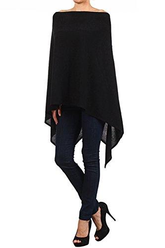 Modern Kiwi Solid Long Knit Asymmetric Wrap Poncho Topper Black One Size