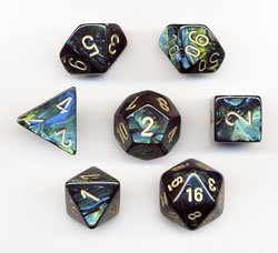 Polyhedral 7-Die Scarab Chessex Dice Set - Jade with Gold CHX-27415