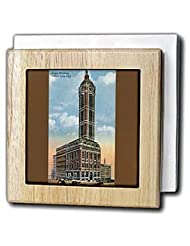 BLN Vintage New York City Collection - Singer Building New York City with Horses and Carriages in the Street - Tile Napkin Holders - 6 inch... by 3dRose