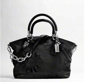 Coach Madison Leather Embellished Sophia Convertible Satchel Bag Purse Tote 16356 Black - Coach 16356BK
