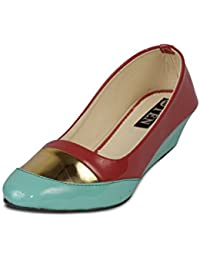 Ten Women's Pink Blue Patent Leather Pump Wedges -3.5 UK