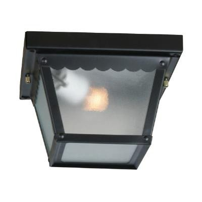 Sunlite ODI1095 9-Inch Ceiling Mount Outdoor Porch Fixture, Black Finish with Frosted Glass