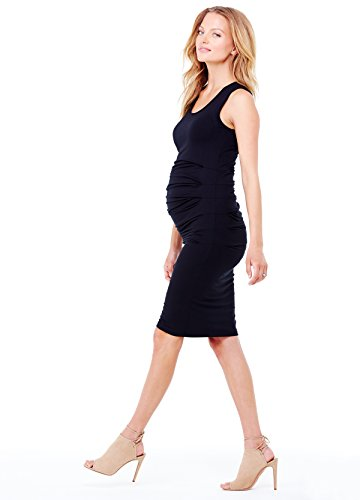 Ingrid And Isabel Women'S Pleated Maternity Tank Dress, Black, Small front-992835