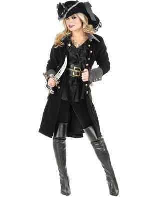Women's Medium 8-10 Grey Velvet Pirate Vixen Costume Long Jacket Coat