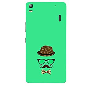 Skin4gadgets Hipster Pattern- Hat, Glasses, Mustache with a Bow Tie, Color - Medium Spring Green Phone Skin for LENOVO A7000