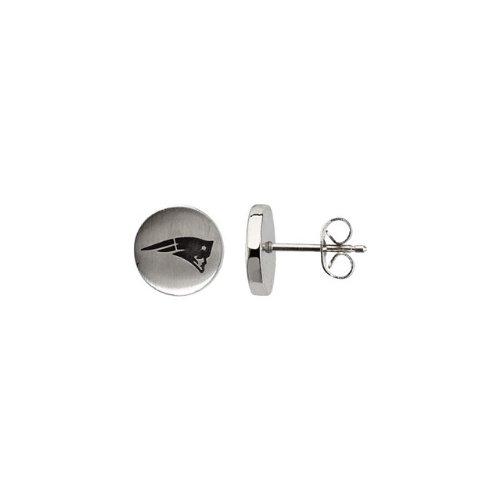 24664 St Steel Pair 10mm New England Patriots Logo Stud Earrings Football NFL Men Team