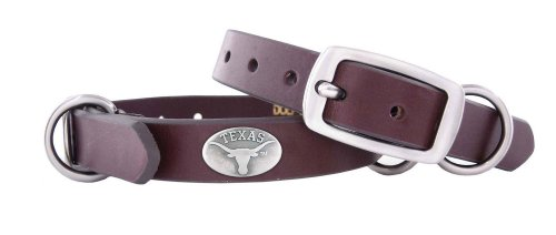 Zep-Pro Texas Longhorns Brown Leather Concho Dog Collar, X-Small