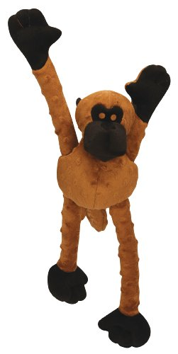 Godog Mr Monkey Dog Toy With Chew Guard, Large, Brown
