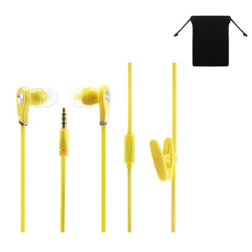 Premium Stereo Handsfree Headset Earbuds Earphones With Mic For Nokia Lumia 928/ 925/ 920/ 822/ 720/ 520/ 521 (Yellow) W/ Anti-Tangle Flat Wire + Carry Bag