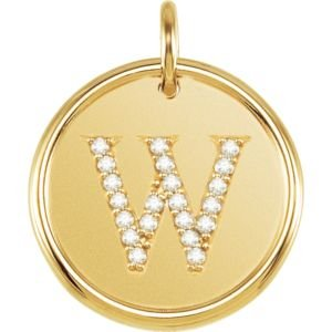 14K Yellow Gold W Polished Posh Mommy Mother'S Mom® Initial Roxy Pendant Jewelry With Diamonds front-181445