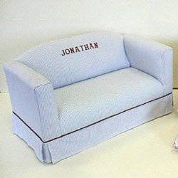 Personalized Child Sofa With Box Skirt Color: Blue Stripe front-228386