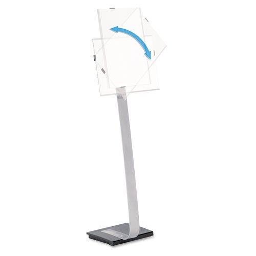 Durable® – Info Sign Duo Floor Stand, Tabloid-Size Inserts, 15 x 44-1/2, Clear – Sold As 1 Each – Rotating message panel shifts from portrait to landscape orientation with the touch of a finger.