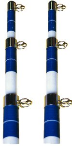 Telescoping Outrigger Poles 15', White And Blue