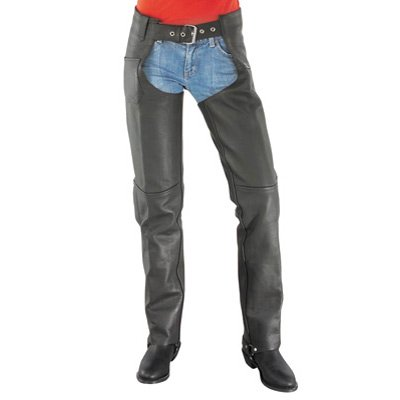 River Road Basic Ladies Leather Motorcycle Chaps